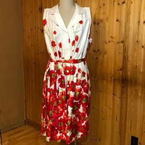 NWT Lane Bryant Plus size 28 Red Poppy Swing Dress